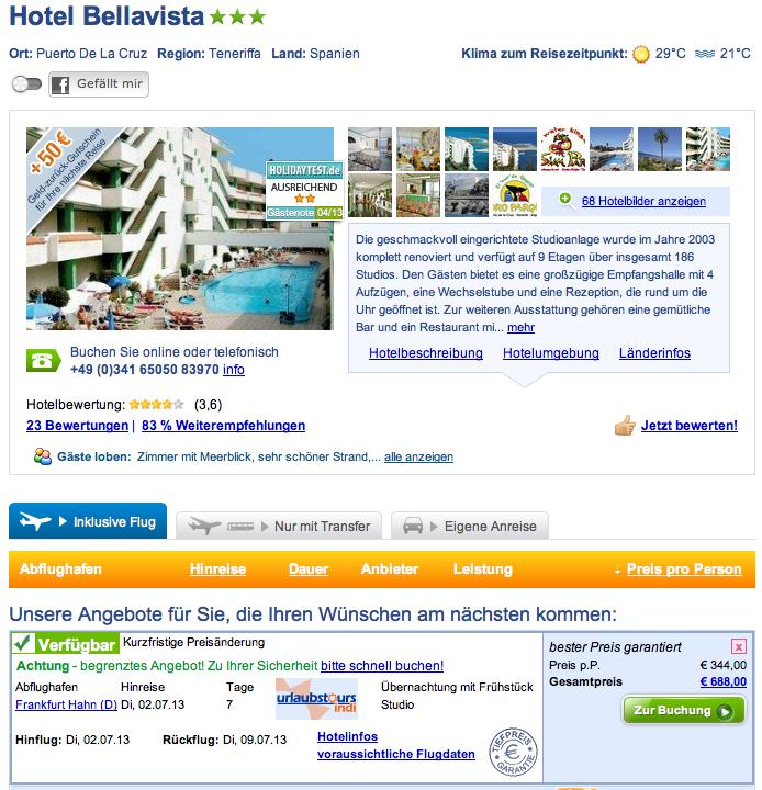 Teneriffa 1 woche mit flug im guten 3 hotel - Hotel bellavista puerto de la cruz ...