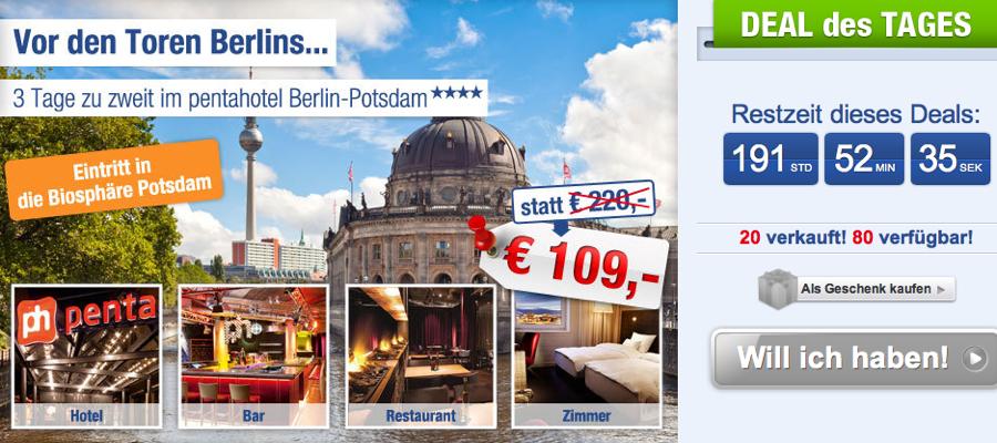 Berlin potsdam 3 tage f r zwei im top 4 for Designhotel potsdam