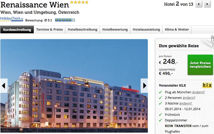 Kurzreise Wien Flug Hotel