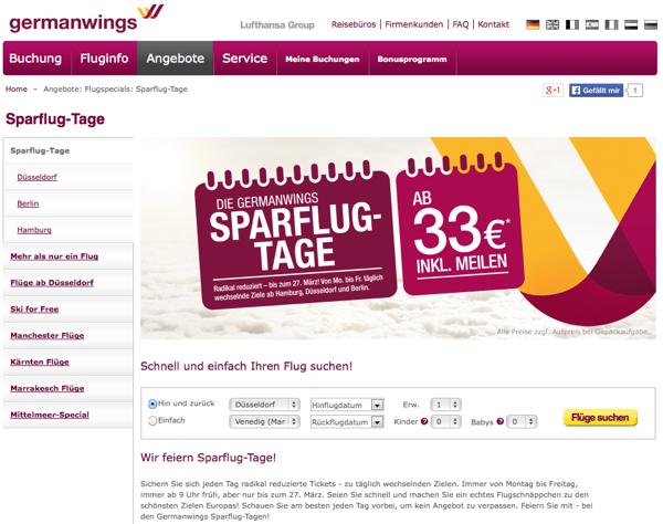 germanwings sparflugtage