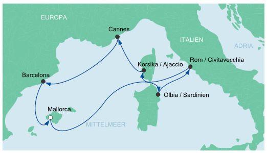 Route Mittelmeer Aida Westliches