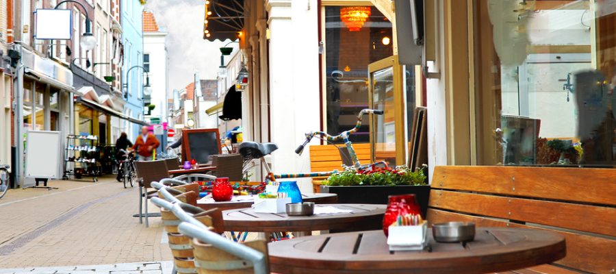 Evening street cafe in Gorinchem. Netherlands
