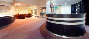 Interior of a hotel, architectural design of a reception.