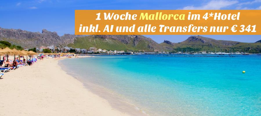 Pollensa Port sand beach in Mediterranean Mallorca island at Balearic Spain