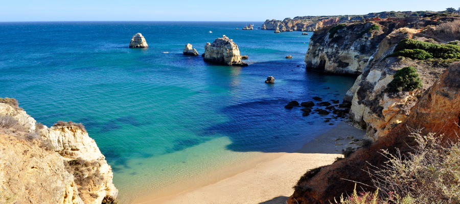 High view of Pinhao Beach in Lagos, Algarve, Portugal
