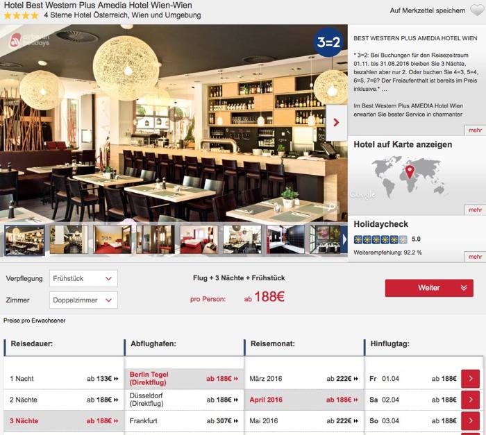 BEST WESTERN PLUS Hotel Amedia Wien reise angebot, airberlin holidays wien reise billig, wien städtereise billig, wien kurzreise angebot
