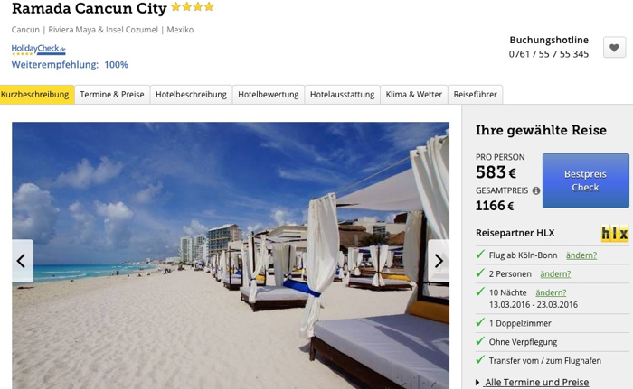 cancun last minute reise billig, ramada cancun reise angebot, mexiko reise last minute angebot