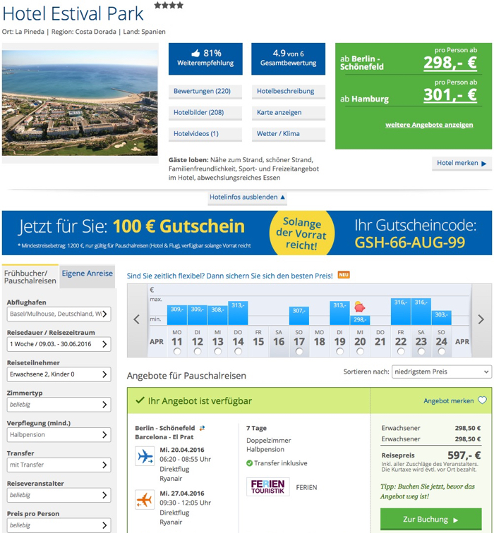 Costa Dorada reise angebot, Costa Dorada last minute reise billig, spanien reise billig