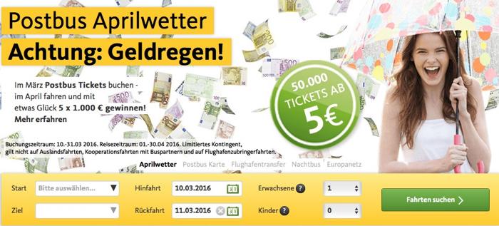 postbus aktion, postbus gratis ticket, postbus 5 euro, postbus aprilwetter