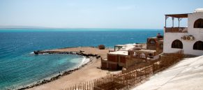 Buildings and Jetty on Coastline of Red Sea in Hurghada, Egypt