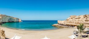 Panoramic view of the Omani beach in Muscat, Oman. It is located about 20 km east of Muscat.