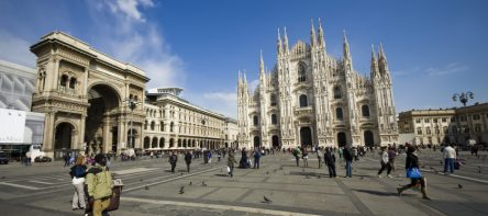 Milano Dome Square with tourists. Italy