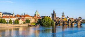 Panorama of Prague city skyline - Czech Republic