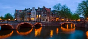 famous canals of Amsterdam, the Netherlands at duskmous canals of Amsterdam, the Netherlands at dusk