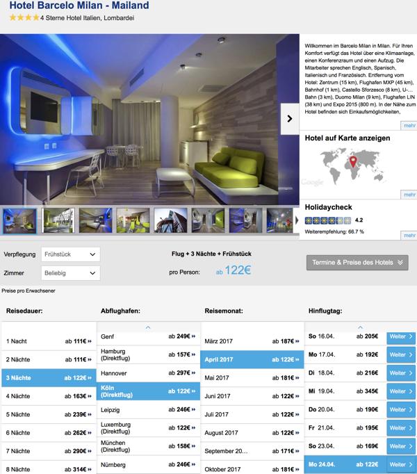 4 tage mailand im guten 4 designhotel inkl for Designhotel mailand