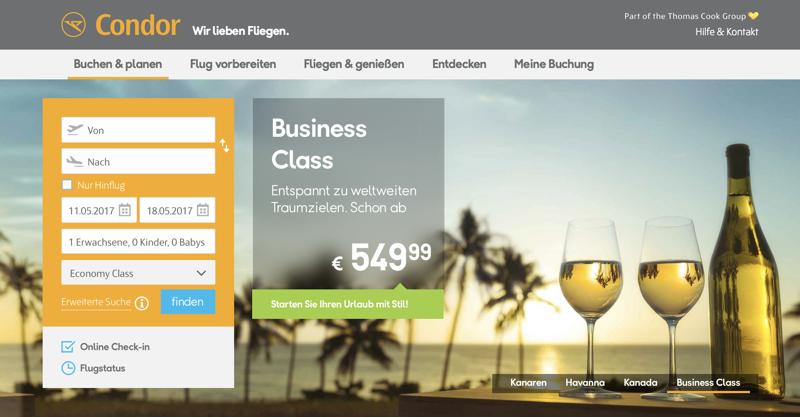 Reisehugo.de Condor Business Class Flüge bereits ab 549,99 Euro ...