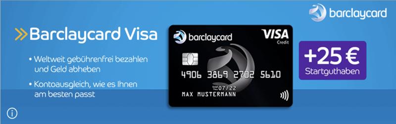 Barclaycard Visa gratis, Visa karte gebührenfrei, Visa Startguthaben