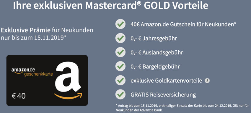 GebührenfreiepayVIP Mastercard GOLD inkl. kostenloserReiseversicherung