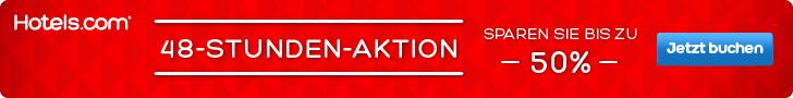 hotels.com aktion, hotels.com 48 stunden aktion, hotel rabatte sofort, 50% Hotelrabatt