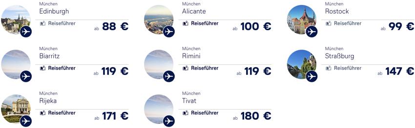 Lufthansa Flüge ab München, Lufthansa Angebote ab München