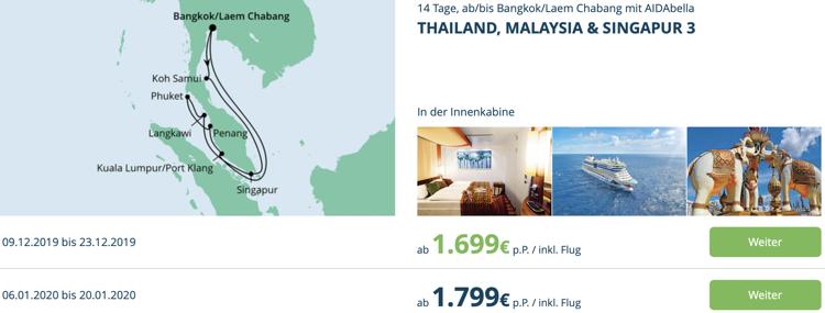 aida Wochenendeinkauf, aida Asien Kreuzfahrt Angebot