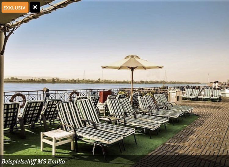 Nilkreuzfahrt und Badeurlaub Angebot, Secret Escapes Luxusreise billig