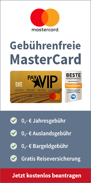 beste kreditkarte, GebührenfreiepayVIP Mastercard GOLD inkl. kostenloserReiseversicherung