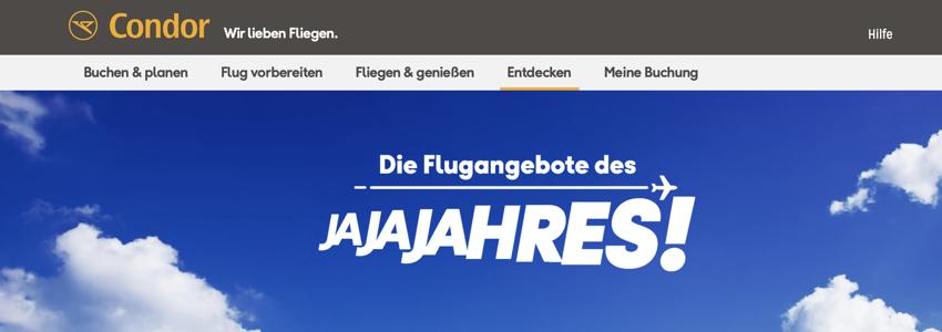 Condor Schnäppchen des Jahres, condor aktion, Billigflüge
