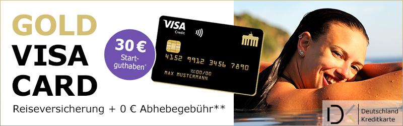 Deutschland-Kreditkarte Startguthaben, Visa karte gold Prämie, Visa karte Gutschrift