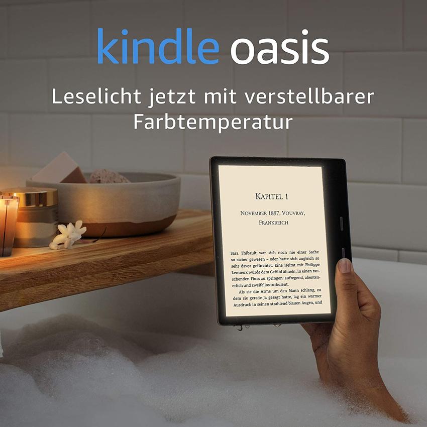 Amazon Kindle oasis, Kindle wasserfest, amazon aktion, kindle aktion, kindle Gutschein, kindle rabatt, mehrwertsteuersenkung, kindle oasis verstellbare Farbtemperatur