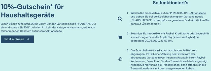 ebay Gutschein haushalt, ebay 10% rabatt, ebay aktion