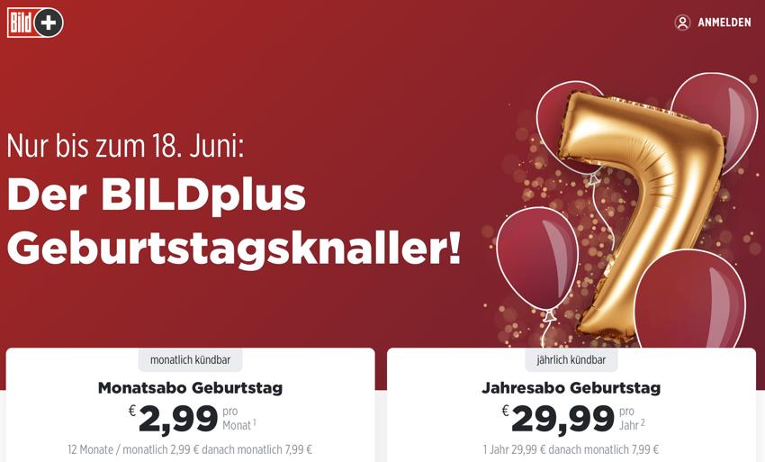 bildplus aktion, bildplus Geburtstag, bildplus 7 jähre