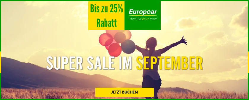 Europcar sale September, Europcar aktion, Europcar gutschein, Europcar rabatt