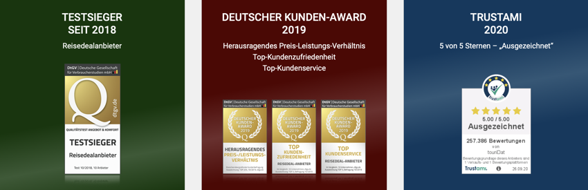 touridat Testsieger, touridat deutscher kundenaward, touridat trustami, touridat test