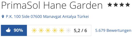 holidaycheck reisen hotels bewertungen, HotelPrimaSol Hane Garden Evrenseki side Antalya