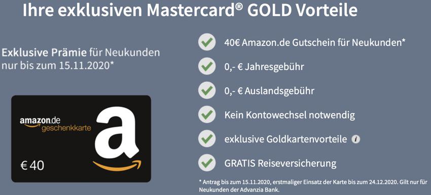 GebührenfreiepayVIP Mastercard GOLD inkl. kostenloserReiseversicherung, Mastercard gold Prämie, Mastercard amazon