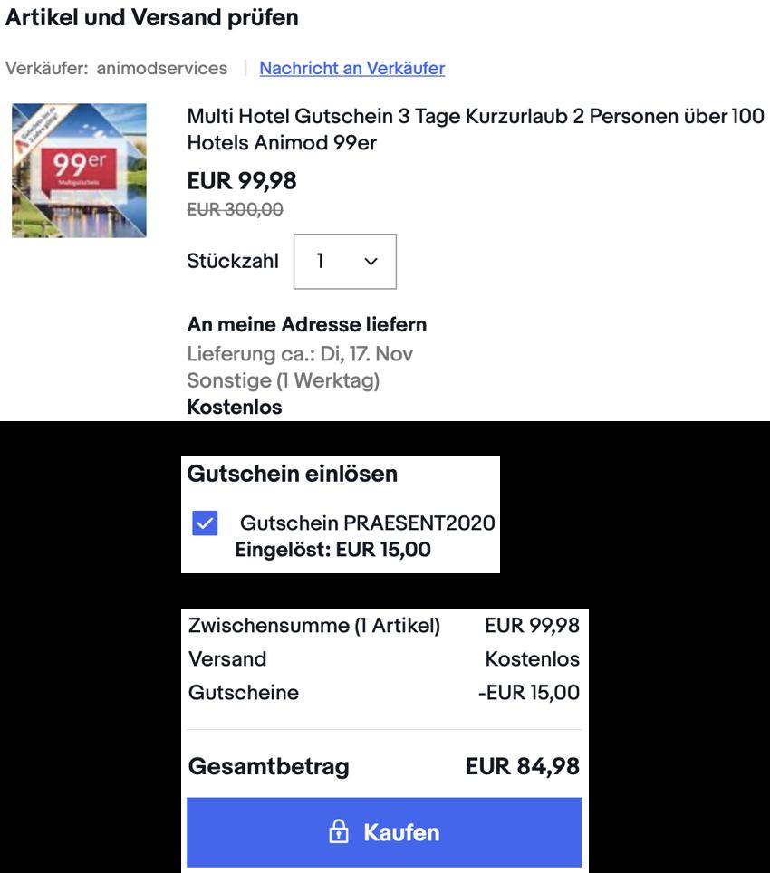 animod Multi Hotelgutschein aktion, ebay Hotelgutscheine 15% rabatt, ebay: Nur kurze Zeit 15% Rabatt auf Kurzreisen, Erlebnis- und Reisegutscheine