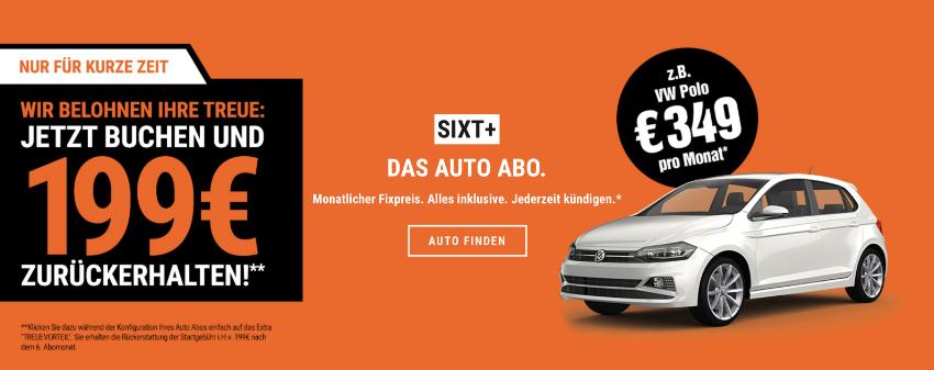 auto abo Sixt, treuevorteil sixt, Kilometer Tresor sixt, sixt Startgebühr geschenkt