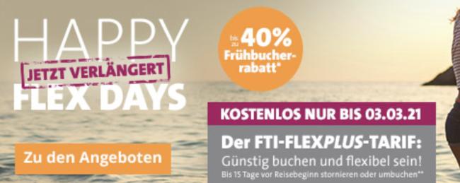 Sommer 2021: Satte Frühbucher-Rabatte, Early Bird 2021, Best-Preis-Garantie reise, FTI Sorglos-Reisen-Paket, Happy Flex Days – FLEXPLUS-Tarif kostenlos