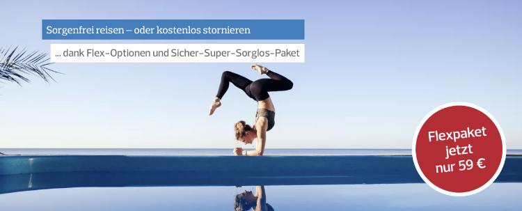 reise urlaub Flex-Optionen - flexibel stornieren