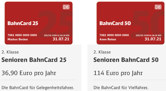 Senioren BahnCard ab 36,90 €