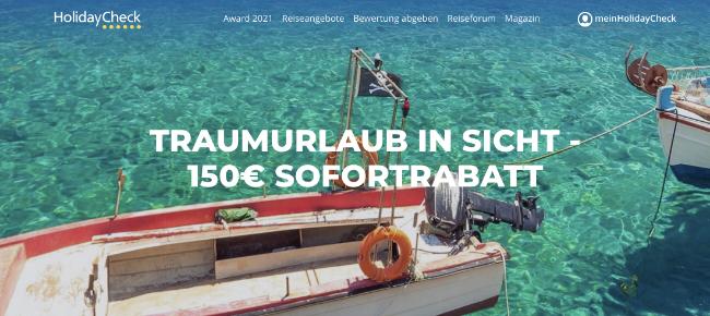 HolidayCheck Gutschein, HolidayCheck: Bis zu 150€ TUI-Sofortrabatt