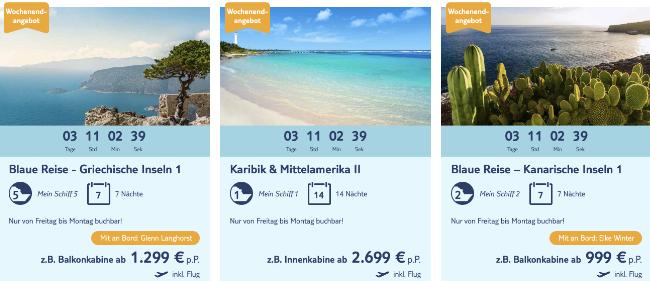TUI Cruises Wochenendangebote, Mein Schiff schnäppchen, TUI Cruises aktion, blaue reise tui