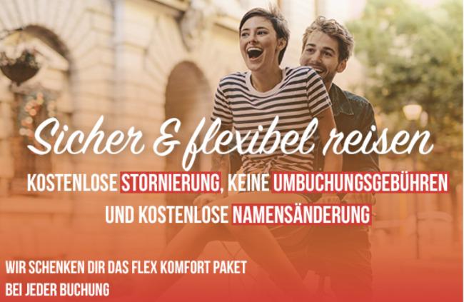 Flexoptionen bei Travador, sorglos buchen travador, flex travador, flex komfort gratis