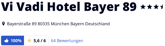 VI VADI HOTEL BAYER 89 München, Bewertungen Holidaycheck reisen hotels urlaub Kurzreise Städtereise