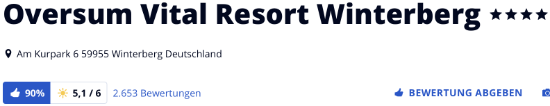 Oversum Vitalresort Winterberg, holidaycheck Bewertungen Hotels reisen